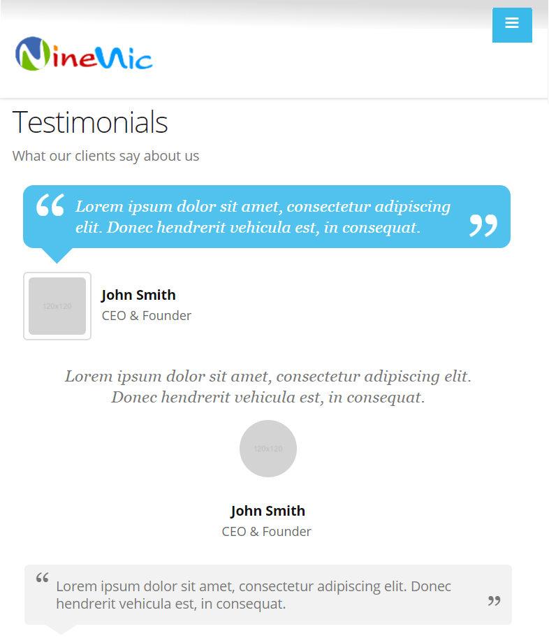เว็บสำเร็จรูป responsive แสดงผลบนโทรศัพท์มือถือ - ตัวอย่างหน้า testimonial